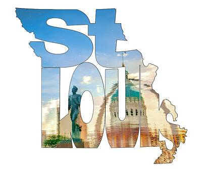 St. Louis Missouri Typography Artwork - Reflecting The Lou - State Shape Series Poster by Gregory Ballos