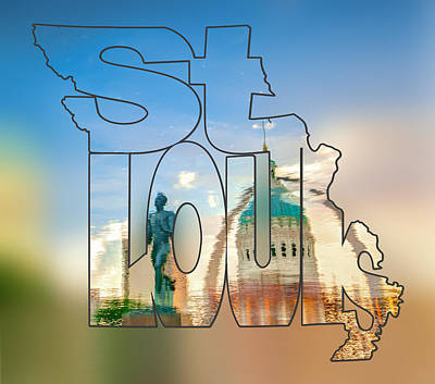 St. Louis Missouri Typography Blur Artwork - Reflecting The Lou - State Shape Series Poster by Gregory Ballos
