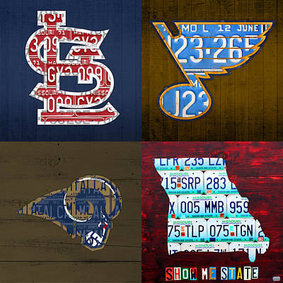 St Louis Sports Fan Recycled Vintage Missouri License Plate Art Cardinals Blues Rams Poster
