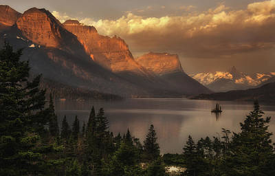 St Mary Lake Sunrise From Wild Goose Island Overlook Poster by Thomas Schoeller