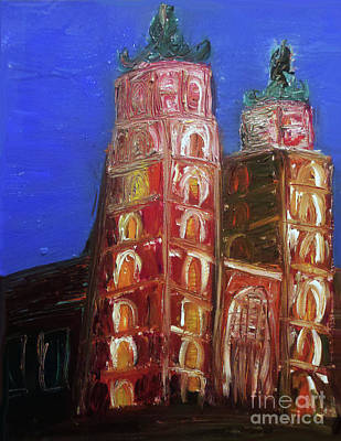Poster featuring the painting St. Mary's Church Kosciol Marjacki by Ania M Milo