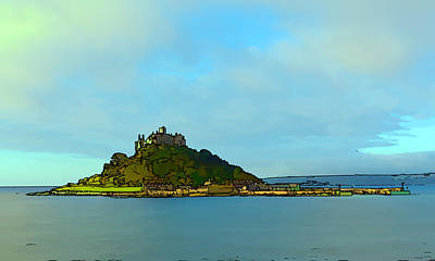 St Michaels Mount Marazion Cornwall England Uk Medieval Castle And Church On Island Bright Colours Poster