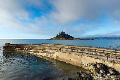 St Michaels Mount With Harbour Wall Cornwall England Uk Medieval Castle And Church On An Island Poster