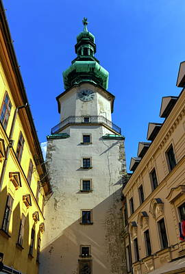 St Michael's Tower In The Old City, Bratislava, Slovakia, Europe Poster by Elenarts - Elena Duvernay photo