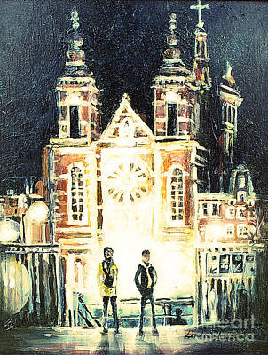 Poster featuring the drawing St Nicolaaskerk Church by Linda Shackelford