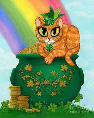 Poster featuring the painting St. Paddy's Day Cat - Orange Tabby by Carrie Hawks