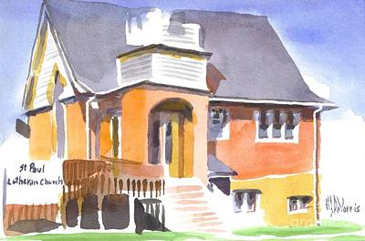 Poster featuring the painting St Paul Lutheran In Watercolor 2 by Kip DeVore