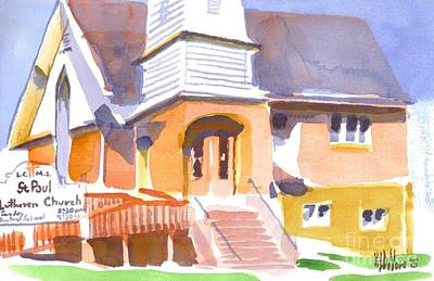 Poster featuring the painting St. Paul Lutheran Ironton Missouri by Kip DeVore