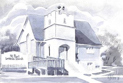 Poster featuring the painting St. Paul Lutheran Church 2 by Kip DeVore