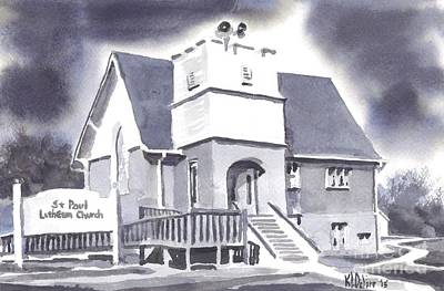 Poster featuring the painting St Paul Lutheran With Ink by Kip DeVore