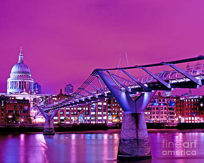 St Pauls And Millennium Bridge Over The River Thames Poster by Chris Smith