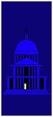 St Pauls By Night Poster by Asbjorn Lonvig
