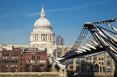 St Pauls Cathedral And The Millenium Bridge, London Poster