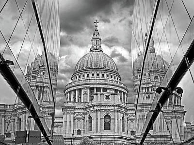 St Pauls Cathedral Reflections - Black And White Poster by Gill Billington