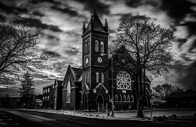 St Pauls United Church Milton  Black And White Poster