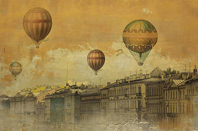 Poster featuring the digital art St Petersburg With Air Baloons by Jeff Burgess