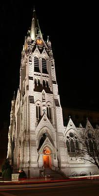 St. Xavier Full Height At Night Poster