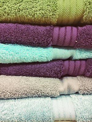 Stack Of Colourful Towels Poster by Tom Gowanlock