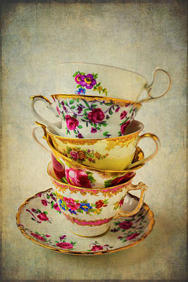 Stack Of Pretty Tea Cups Poster
