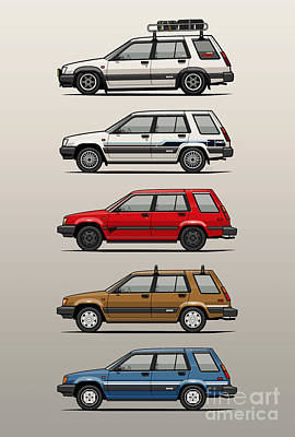 Stack Of Toyota Tercel Sr5 4wd Al25 Wagons Poster by Monkey Crisis On Mars