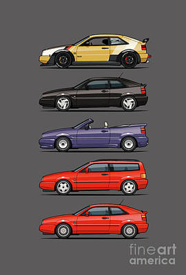 Stack Of Vw Corrados Poster by Monkey Crisis On Mars