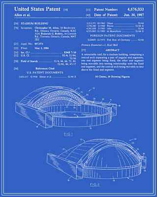 Stadium Patent - Blueprint Poster by Finlay McNevin