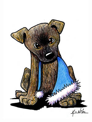 Staffordshire Bull Terrier Brindle Pup Poster by Kim Niles