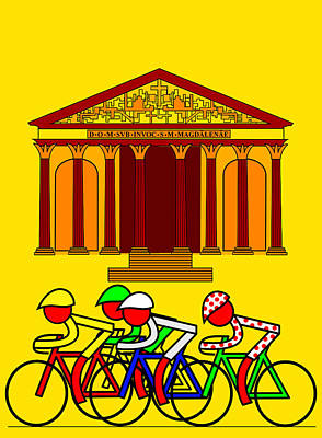 Stage 21  They Pass By L'eglise De La Madeleine Poster by Asbjorn Lonvig
