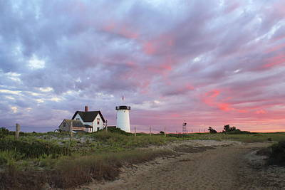 Stage Harbor Lighthouse Cape Cod Sunset Poster by John Burk