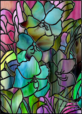 Stained Glass Amaryllis Poster