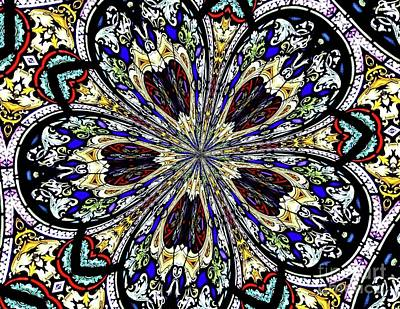 Poster featuring the photograph Stained Glass Kaleidoscope 38 by Rose Santuci-Sofranko