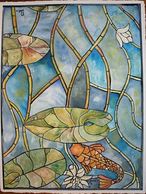 Stained Glass Koi Poster