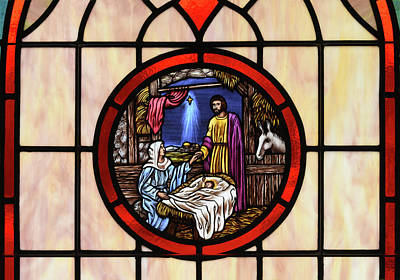 Stained Glass Nativity Window Poster