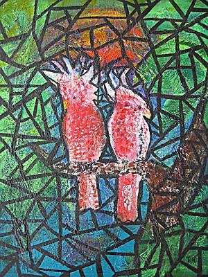 Stained Glass Parrots Poster