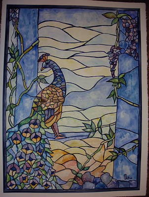 Stained Glass Peacock Poster