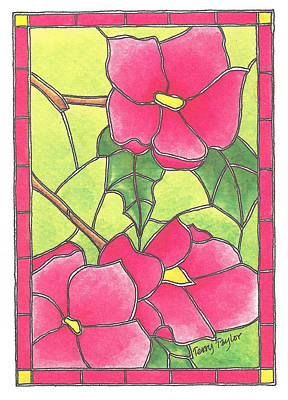 Stained Glass Peonies Poster