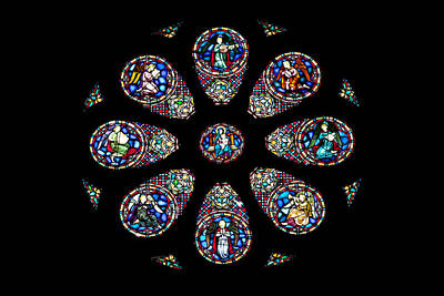 Stained Glass Rose Window In Lisbon Cathedral Poster by Artur Bogacki