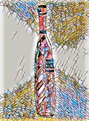 Stained Glass Tall Red Wine Bottle Poster