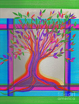 Stained Glass Tree By Jrr Poster