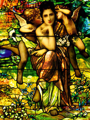 Stained-glass Window Depicting Chansons De Printemp By Bouguereau Poster