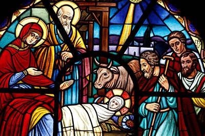 Stained Glass Window Depicting The Nativity Poster