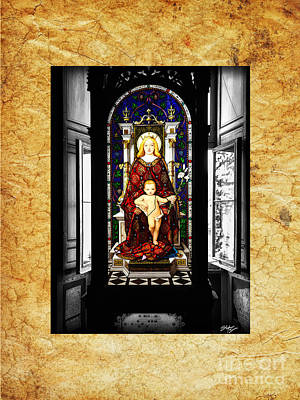 Stained Glass Window Of Madonna And Child Poster by Stefano Senise