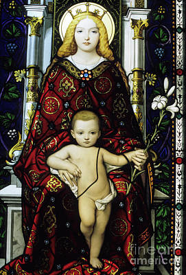 Stained Glass Window Of The Madonna And Child Poster by Sami Sarkis