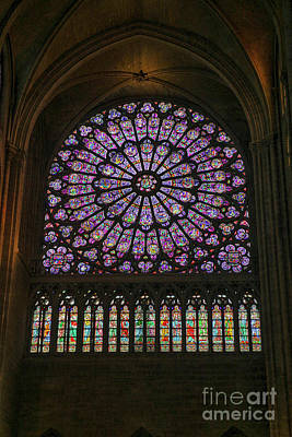 Stained Glass Window Of The Notre Dame Poster