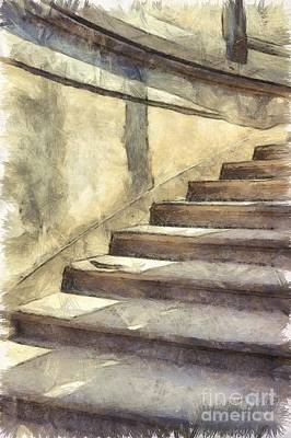 Staircase At Pitti Palace Florence Pencil Poster by Edward Fielding