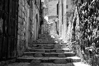 Stairs Of History In Jerusalem Poster by John Rizzuto