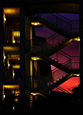 Stairway Silhouette At Sunset Poster