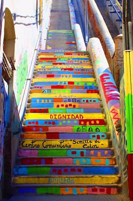 Stairway To Heaven Valparaiso Chile II Poster by Kurt Van Wagner