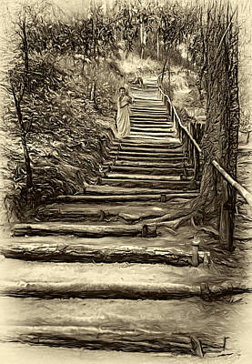 Stairway To Heaven - Sepia Poster by Steve Harrington