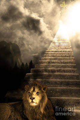 Stairway To Heaven V1 Sepia Poster by Wingsdomain Art and Photography